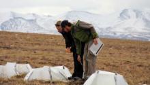 Me and Matthew Simon taking measurements at Imnaviat Creek.