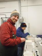 Jeff Grimm and Paula Dell preserving fish eggs, Palmer Station