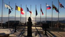 flags at chalet