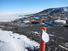 The WATER DROP from Lori's ESL class check out the view of McMurdo from Observa