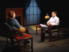 "Cara Pekarcik and QATV journalist Joe Catalano discuss the upcoming ""Go Places"" presentation at the Thomas Crane Public Library in Quincy, MA"
