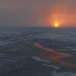 Sunset over sea ice. Tonight, the sun is setting. After it sinks below the horizon, the sun will not show itself at this northern latitude until early spring 2020. Photo by Bill Schomoker (PolarTREC 2015), Courtesy of ARCUS.