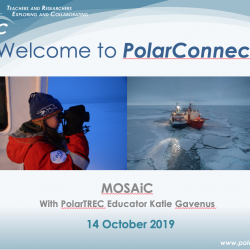 Advertisement for the PolarConnect Event with MOSAiC Expedition and educator Katie Gavenus on 14 October, 2019.