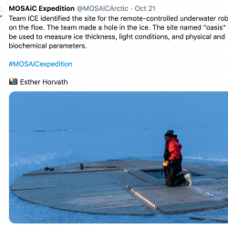 On a recent Twitter post from the MOSAiC Expedition, they shared an image of a hole where they will deploy an ROV to study what is under the sea ice.
