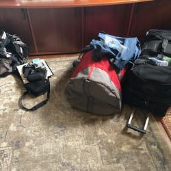 Two large bags and a daypack.