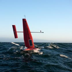 The saildrone on the ocean. (Courtesy of NOAA)