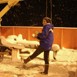 Snowball fight on the deck of the Nathaniel B. Palmer