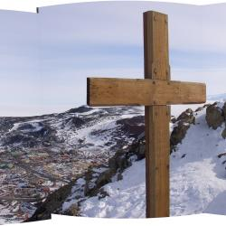 Scott's cross above McMurdo Staion