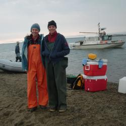 Carrie and Tara prepare to load and launch for another day of sampling.