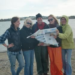 "Five women from Port Aransas with the ""Traveling Moon"""