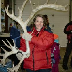 Alex holding reindeer antler