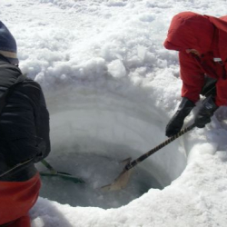 Fishing for ice in the dive hole