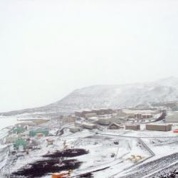 McMurdo in the snowfall.
