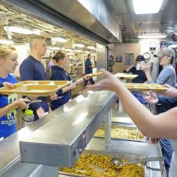 Melissa Miller, Alison Gather, and Courtney Schatzman Serving Science Morale Meal