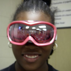 Ashley models the Venus Excel  goggles.