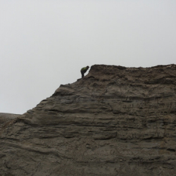 Simon on the nose of a sediment ridge.