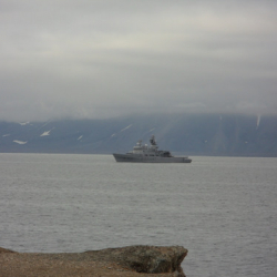 The norwegian coast guard ship.