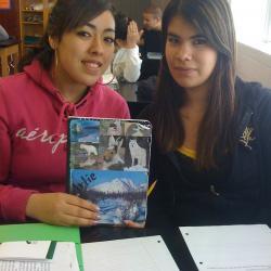 Kiara and Jazmin with their journal