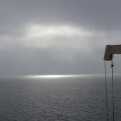 Sun through low Arctic clouds
