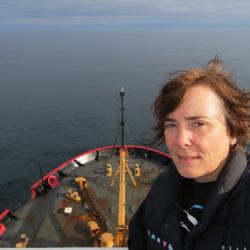 PolarTREC teacher Deanna Wheeler near St. Lawrence Island in the Bering Sea
