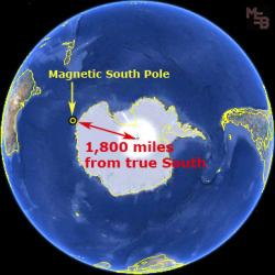 Comparing geographic and magnetic south poles