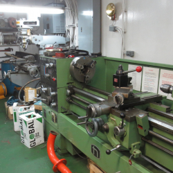 Some of the lathes in the machine shop.