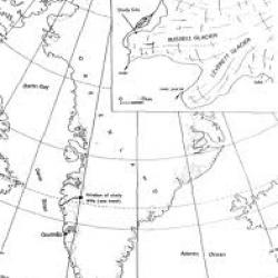 Map showing location of Russell Glacier