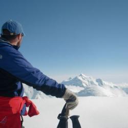 Seth peering at Mount Hunter from Windy Corner