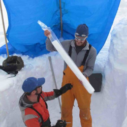 Tim holding bagged shallow core