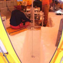 Inside the drill tent