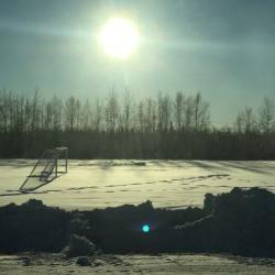 Frozen soccer field