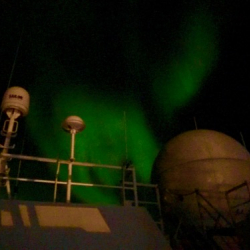 Aurora over the Beaufort Sea and the bridge onboard the R/V Sikuliaq! September 12, 2017. Photo by Lisa Seff.