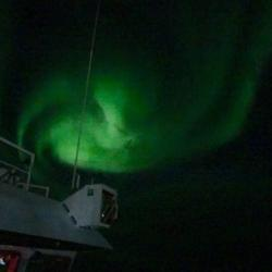 Aurora over the Beaufort Sea onboard the R/V Sikuliaq!