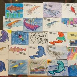 Arctic organism artwork from Mr. Scala and Mrs. Yardley's class at Springs School!  Photo by Lisa Seff.  August 2017.