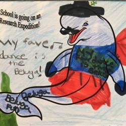 Arctic organism artwork from Springs School.  Photo by Lisa Seff.  August 2017.
