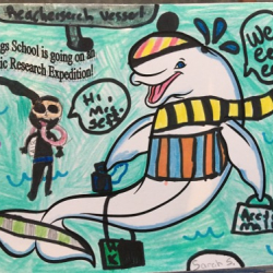 Arctic organism artwork from Springs School Student Sarah S.  Photo by Lisa Seff.  August 2017.