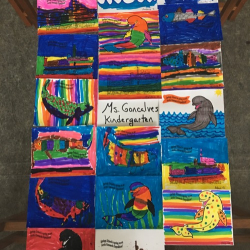 Arctic organism artwork from students in Mrs. Goncalve's classroom at Springs School!  Photo by Lisa Seff.  August 2017.