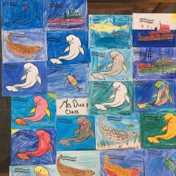 Arctic organism artwork from students in Mrs. Diaz's classroom at Springs School!  Photo by Lisa Seff.  August 2017.