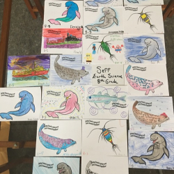 Arctic organism artwork from Springs School students! Mrs. Seff's Regents Class. 2016/17.  Photo by Lisa Seff.  August 2017.