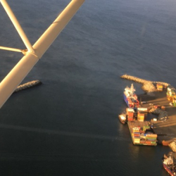 Flying over the R/V Sikuliaq