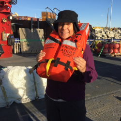 Lisa Seff wearing life jacket during safety drill.