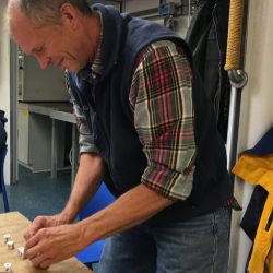 What do scientists do when the nets can't go in the water and the decks are off limits due to rough seas? Dr. Steve Okkonen and Lisa Seff opted for a quick game of Makin'Bacon in the main lab on the R/V Sikuliaq!  September 6, 2017.