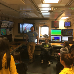 Anvil City Science Academy middle school students check out the computer displays onboard the R/V Sikuliaq. Photo by Lisa Seff.  September 18, 2017.