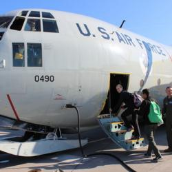 Alex and Victor boarding the LC-130 to Greenland.