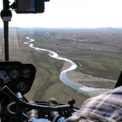 View of the river valley from the helo