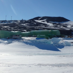Scott Base from sea ice.