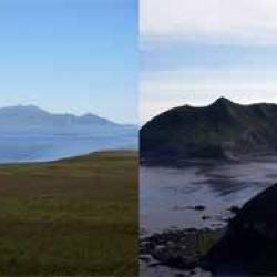 Five Kuril Islands viewed from Ryponkicha