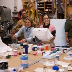 Lisa Crockett and Kristin O'Brien Fish Printing at Palmer Staion, Antarctica