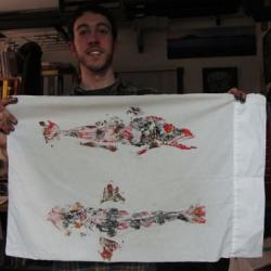 Devin Devor with his fish print at Palmer Station, Antarctica