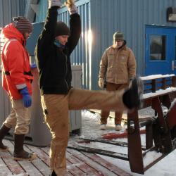 Unloading cargo at Palmer Station, Antarctica
